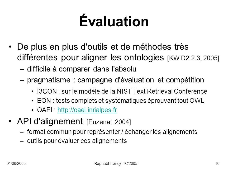 Évaluation De plus en plus d outils et de méthodes très différentes pour aligner les ontologies [KW D2.2.3, 2005]